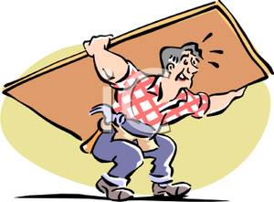 A carpentar carrying door. Free clipart of someone carring something on their back