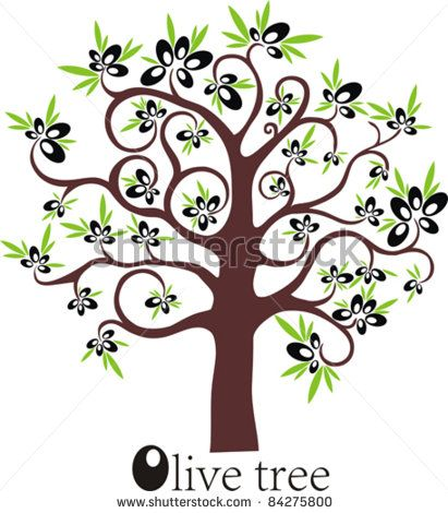Watercolor bren tree clipart jpg freeuse library images clip art olives | Olive tree full of black olives isolated on ... jpg freeuse library