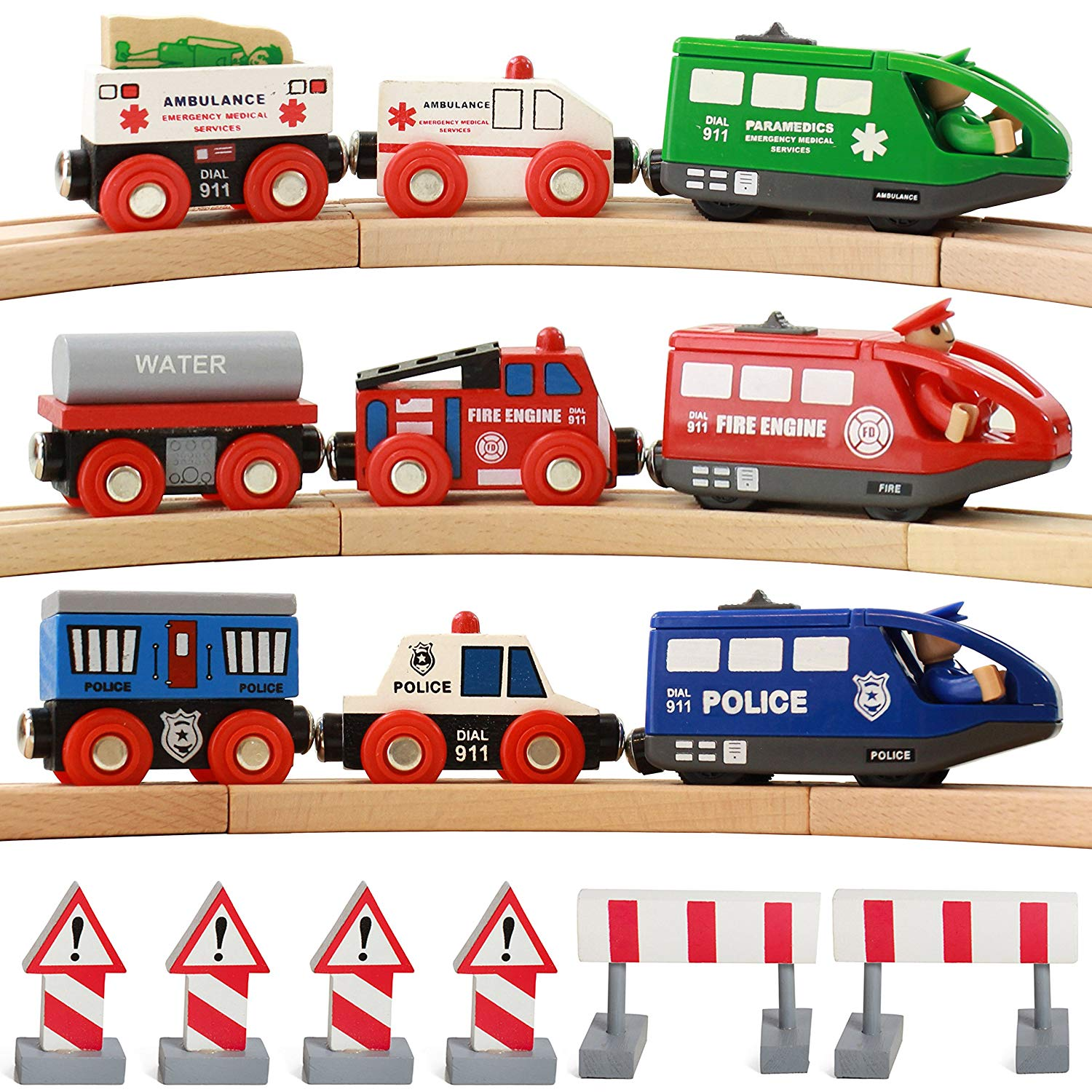 Free clipart of train cars going backwards down a hill image freeuse stock On Track USA Battery Operated Action Rescue Trains, Includes 3 Motorized  Engines and 6 Cars, Compatible for Wooden Tracks from All Major Brands ... image freeuse stock