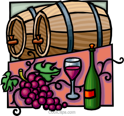 Free clipart of wine barrel image transparent download wine barrels with grapes and wine bottle Royalty Free Vector Clip ... image transparent download