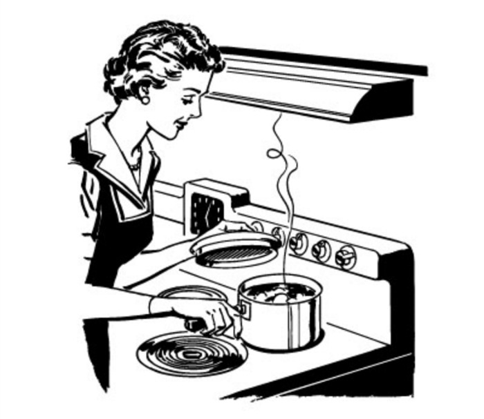 Vintage cooking clipart black and white picture royalty free Free Retro Kitchen Cliparts, Download Free Clip Art, Free Clip Art ... picture royalty free