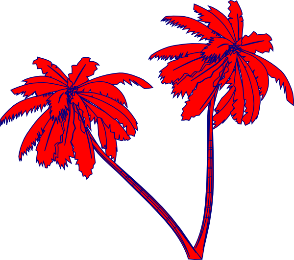 Free clipart palm tree with christmas lights banner transparent library Red And Blue Palm Trees Clip Art at Clker.com - vector clip art ... banner transparent library