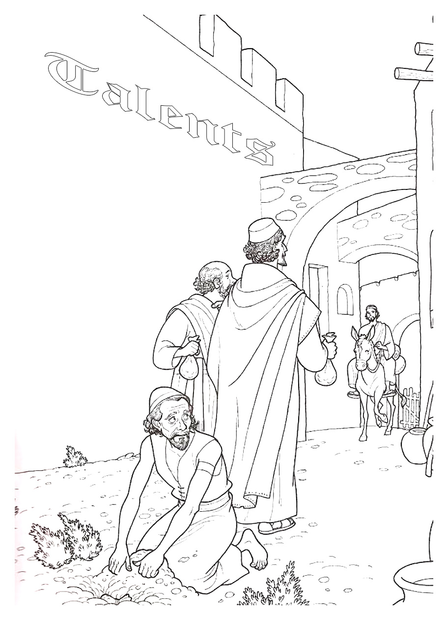 Free clipart parable of the ten minas. Christian coloring pages parables
