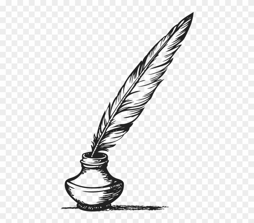 Feather ink quill png. Free clipart pen and inkwell