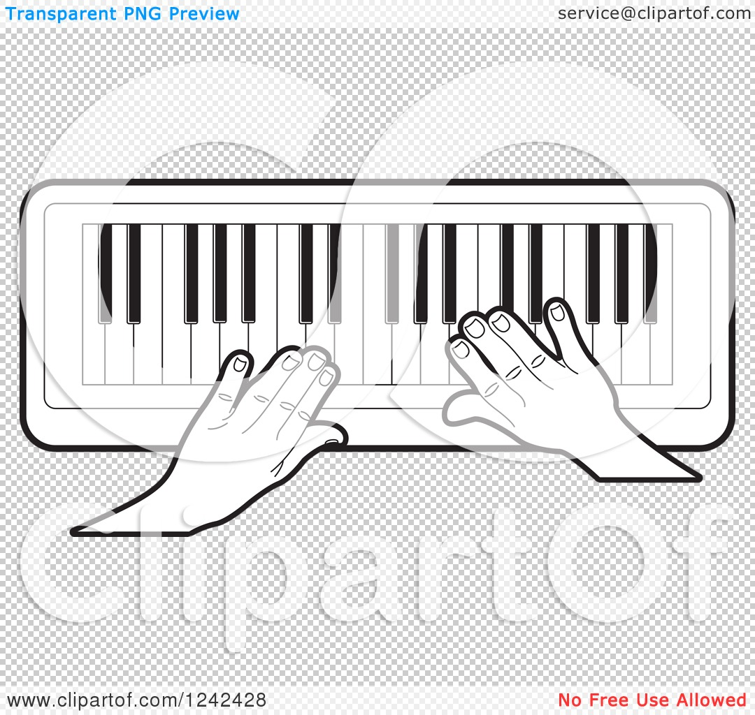 Free clipart piano keyboard png transparent background banner free library Clipart of Black and White Hands Playing a Keyboard Piano Organ ... banner free library