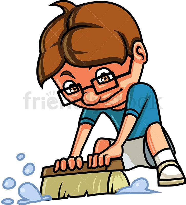 Kid cleaning the floor. Free clipart pics of little boy brushing hair