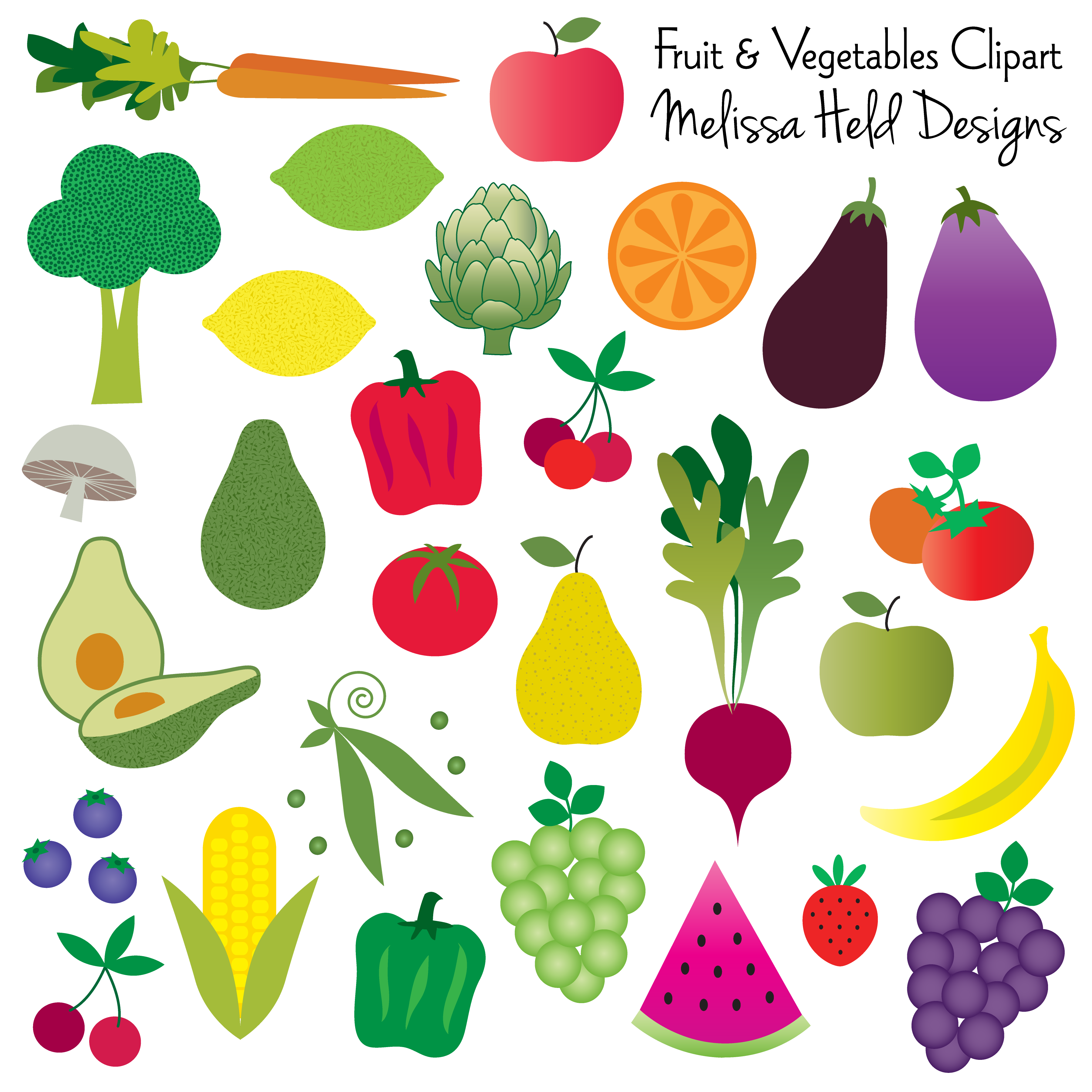 Free clipart pictures of fruits and vegetables. To printable images