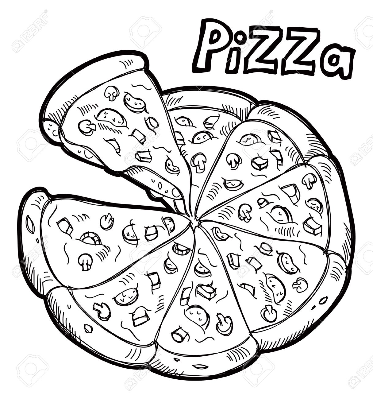 Free clipart pizza black and white svg freeuse stock Best Pizza Clipart Black And White #6397 - Clipartion.com svg freeuse stock