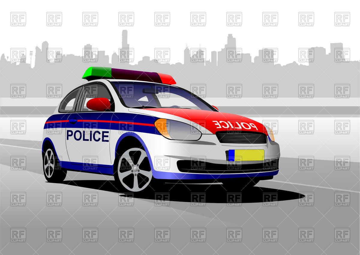 Free clipart police car image stock Colorful police car against silhouette of cityscape Vector Image ... image stock