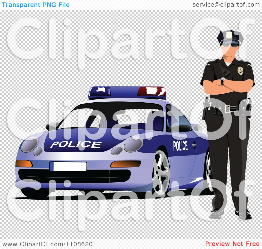 Free clipart police car free download Clipart Police Officer By His Cop Car 2 - Royalty Free Vector ... free download