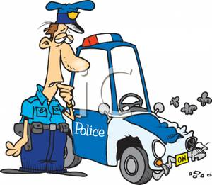 Free clipart police car image royalty free stock Police Officer With A Wrecked Police Car - Royalty Free Clipart ... image royalty free stock