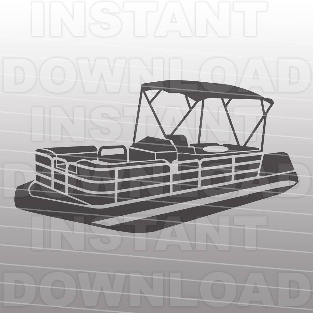 Pontoon boat silouette clipart black and white