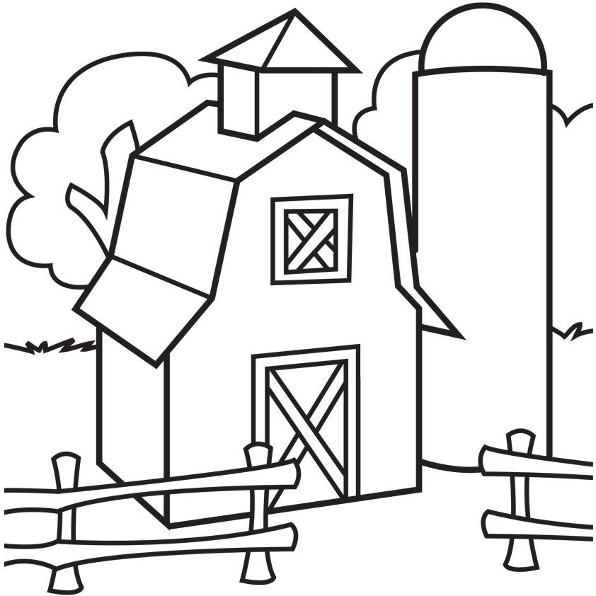 Free clipart printable black and white coloring pages barns. Barn to print download