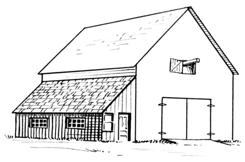 Free clipart printable black and white coloring pages barns. Barn lean to page