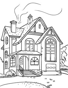 Best house coloring clipartion. Free clipart printable black and white line art houses
