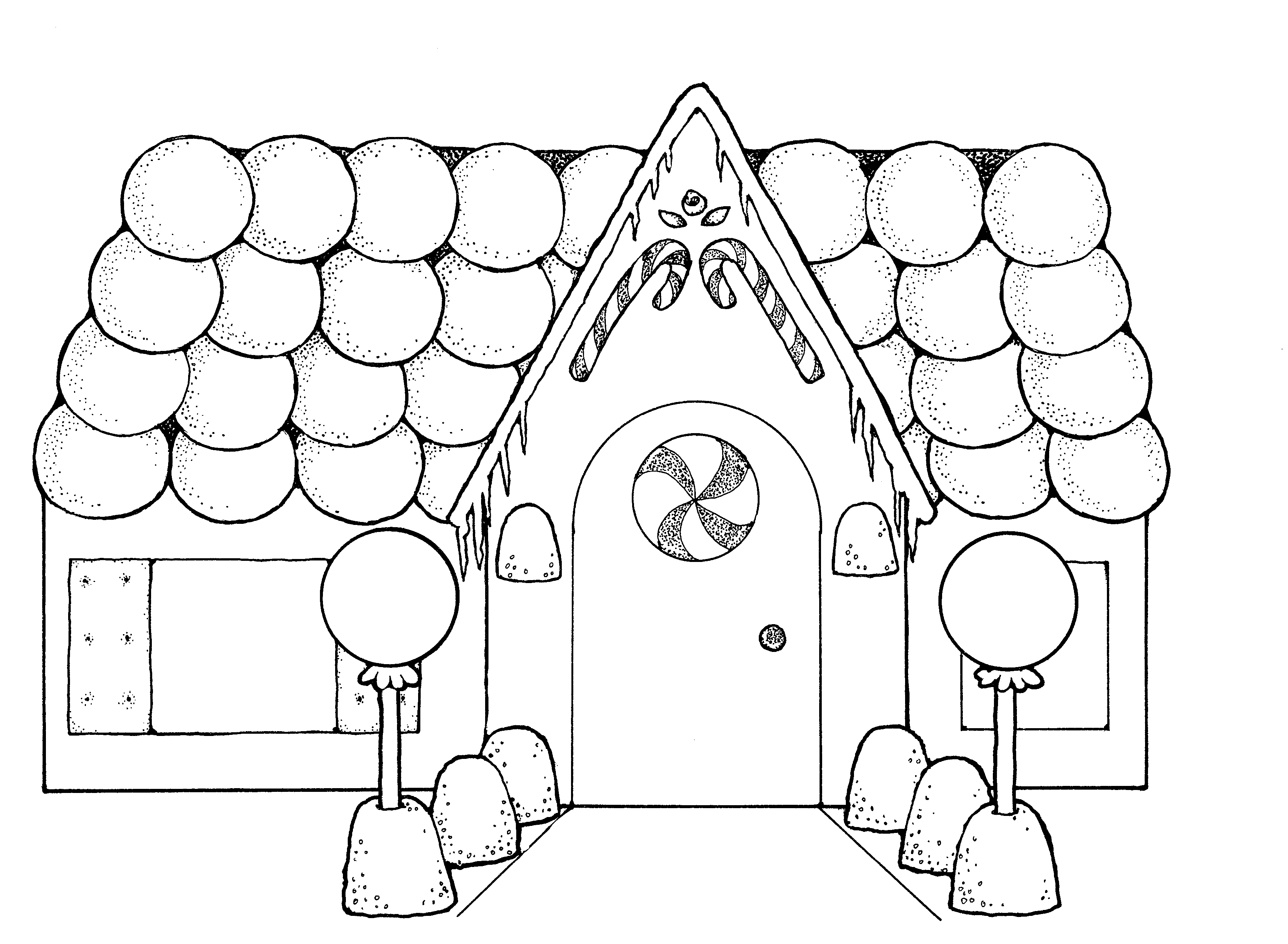 Gingerbread house cliparting com. Free clipart printable black and white line art houses