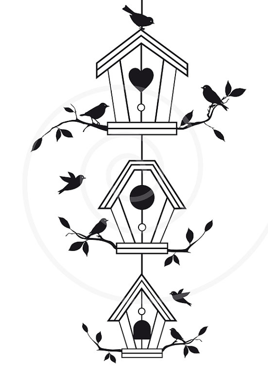 Free clipart printable black and white line art houses. Cute bird with tree