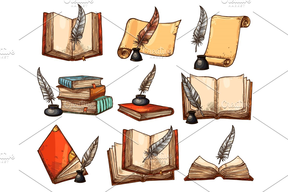 Old book paper scroll. Free clipart quill pen and ink vintage
