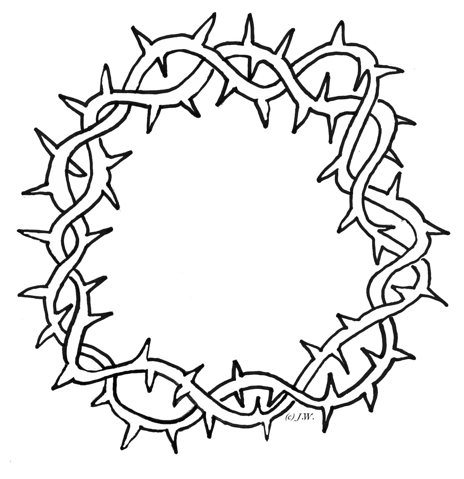 Free clipart rose with thornes coloring page black and white library Crown Of Thorns Clipart - Cliparts.co | Catholic Images | Crown of ... black and white library