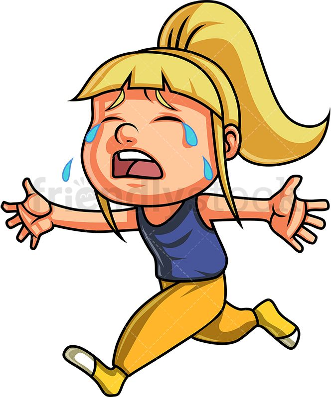 Free clipart running out of steam roller clip art library download Little Girl Crying And Running For Comfort   Cartoons in 2019 ... clip art library download