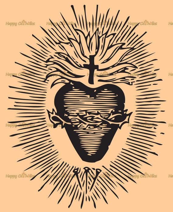 Free clipart sacred heart of jesus jpg free library Catholic Art // Clip Art // Sacred Heart of Jesus Vector - Digital ... jpg free library