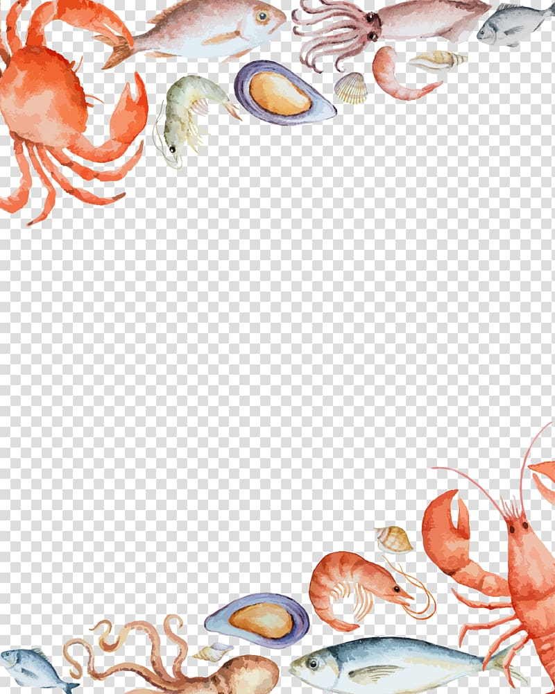 Free clipart scrolls and flourishes wave and seashell picture freeuse download Free download | Red crab illustration, Seafood Crab, seafood border ... picture freeuse download