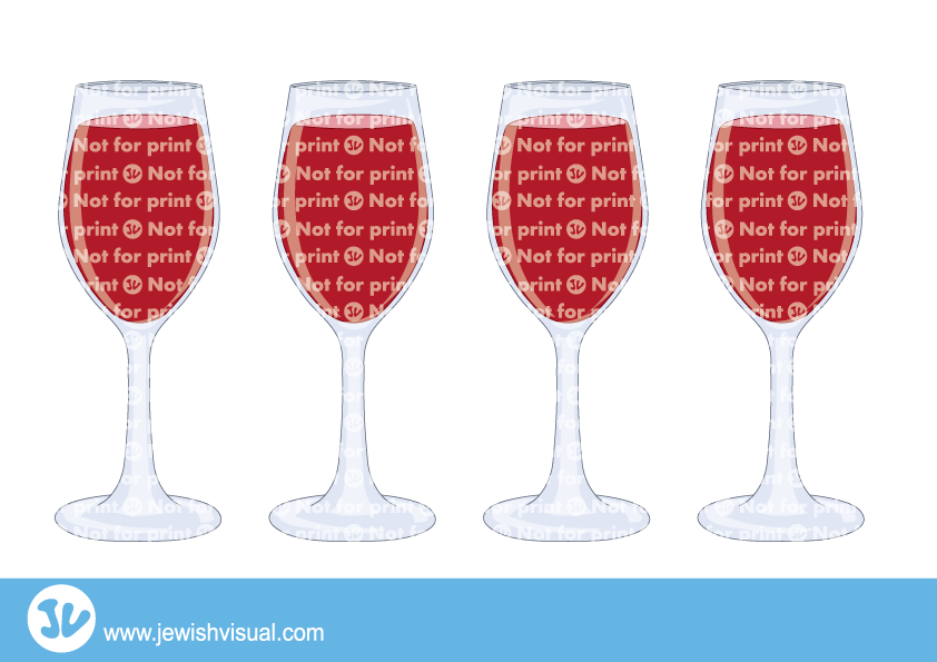 Free clipart seder 4 cups of wine graphic freeuse download four cups of passover - ארבע כוסות - JVisual graphic freeuse download