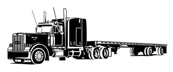 Black and white image. Free clipart semi truck