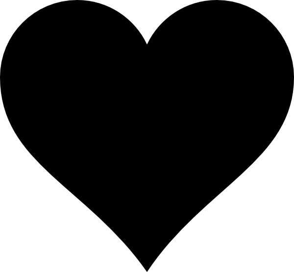 Heart clipart black and white outline picture black and white library Free clipart silhouette hearts - ClipartFest picture black and white library