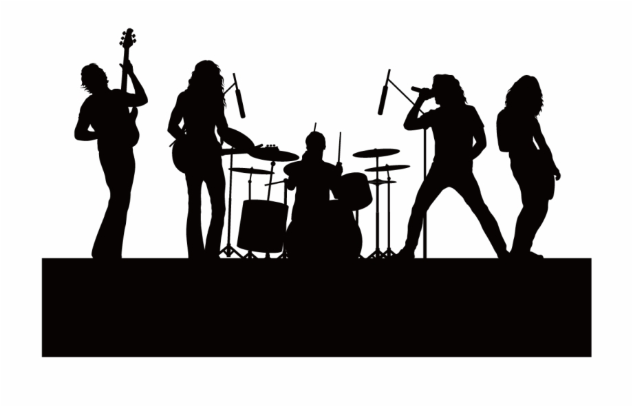 Free clipart silhouette of a music band clip art freeuse library Silhouette Singing Music - Live Band Background Png Free PNG Images ... clip art freeuse library