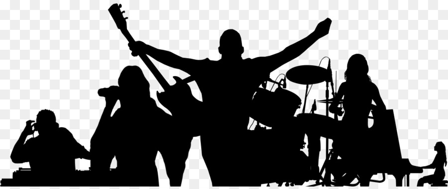 Free clipart silhouette of a music band black and white stock Rock Background clipart - Music, Silhouette, Singer, transparent ... black and white stock
