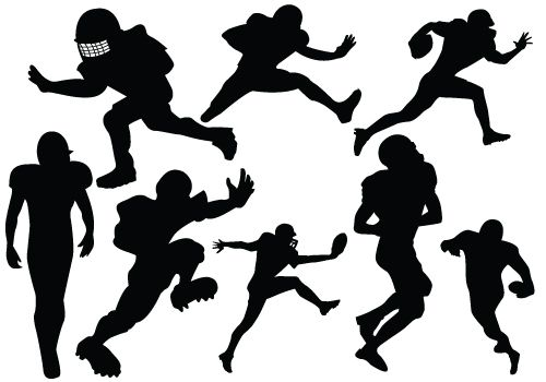 Free clipart silhouette of men watching football graphic black and white download Football players in different styles added to this Football Player ... graphic black and white download
