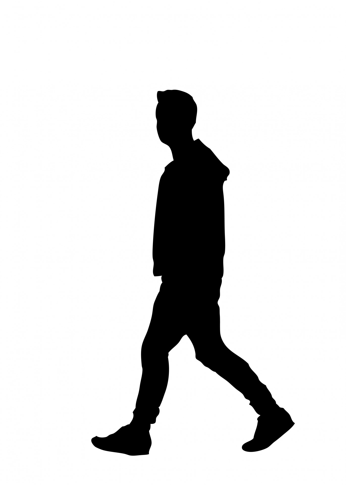 Young black boy silhouette clipart