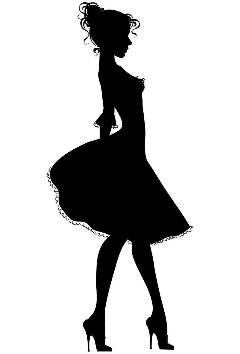 Free clipart skirt silhouette outline walking black white. Dress form clip art