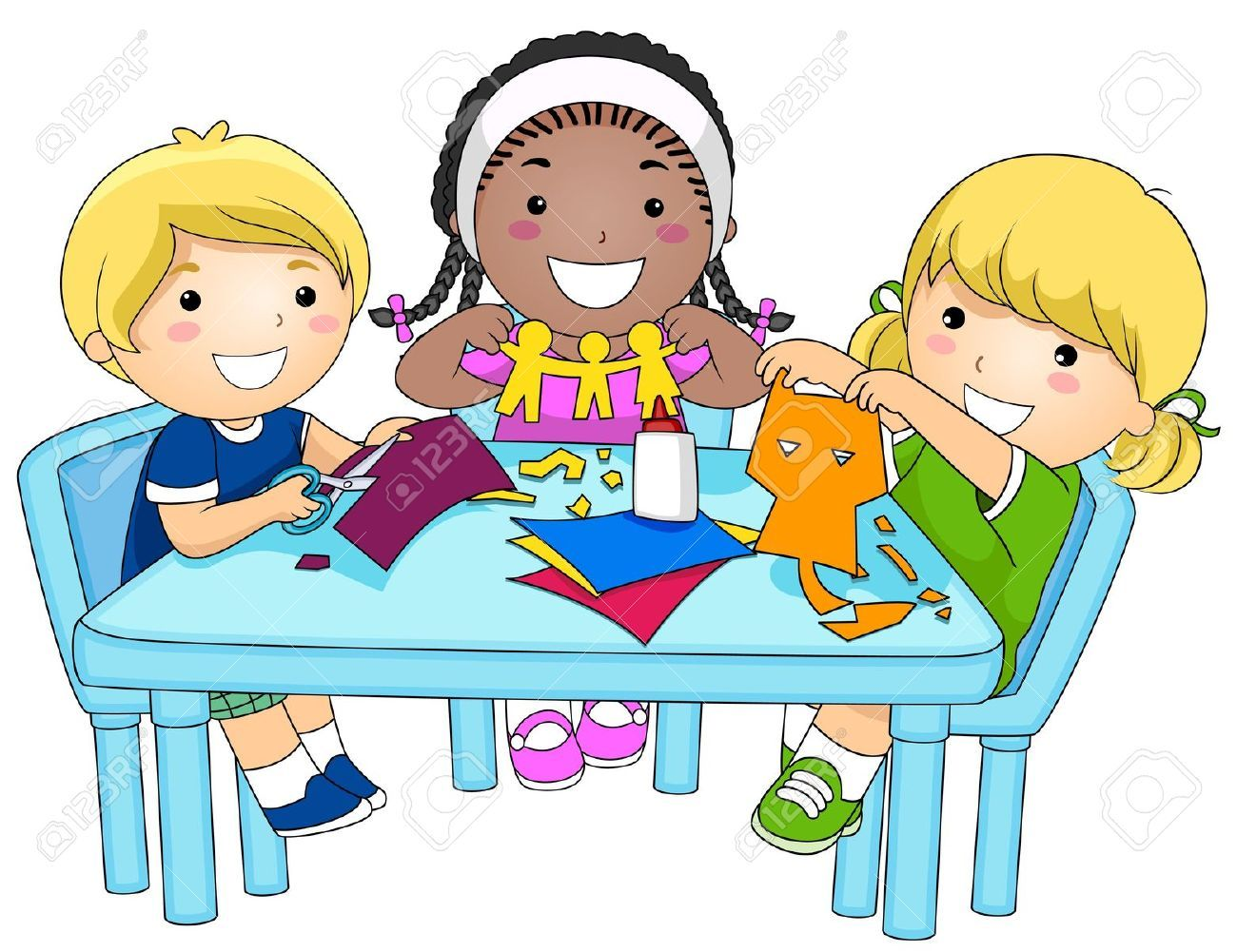 Stock photo preschool . Free clipart small group at a table