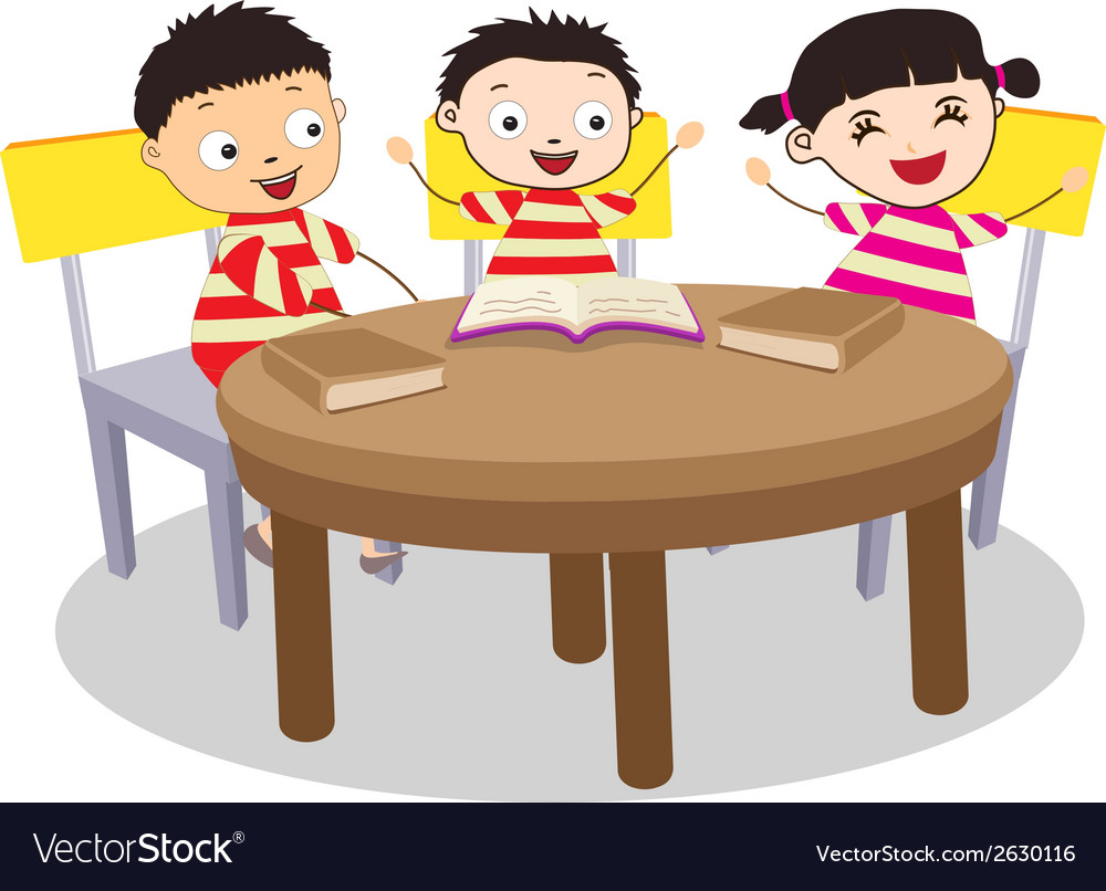 Of kids open book. Free clipart small group at a table