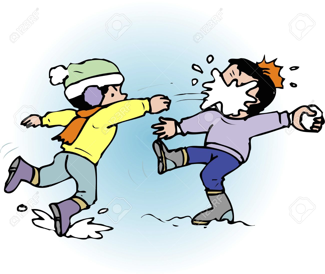 Free clipart snowball fight.  clipartlook