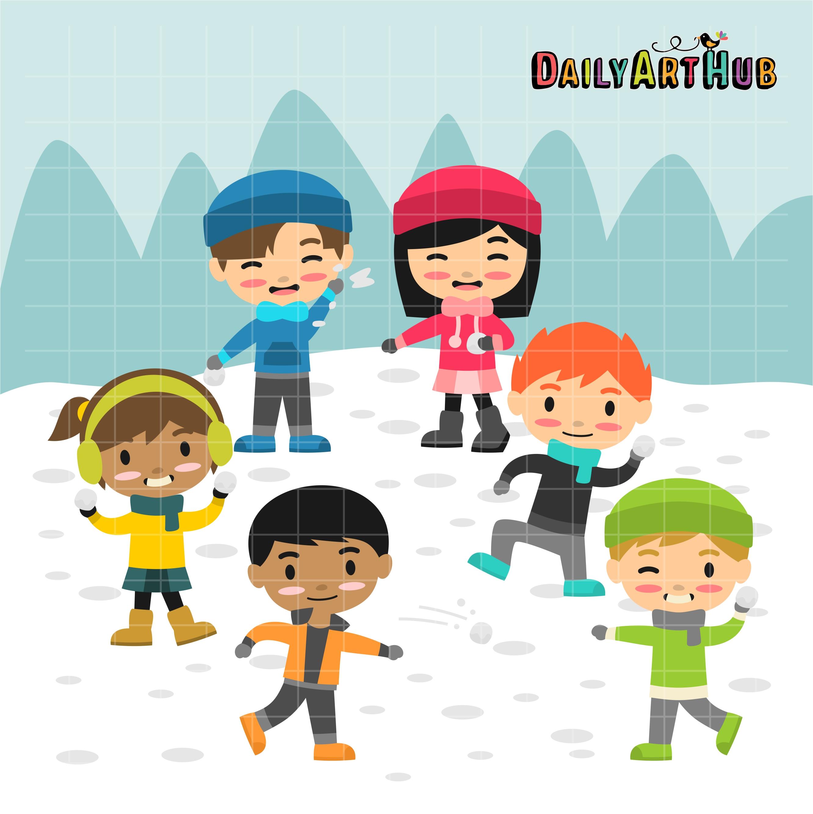 Free clipart snowball fight. Kids clip art set