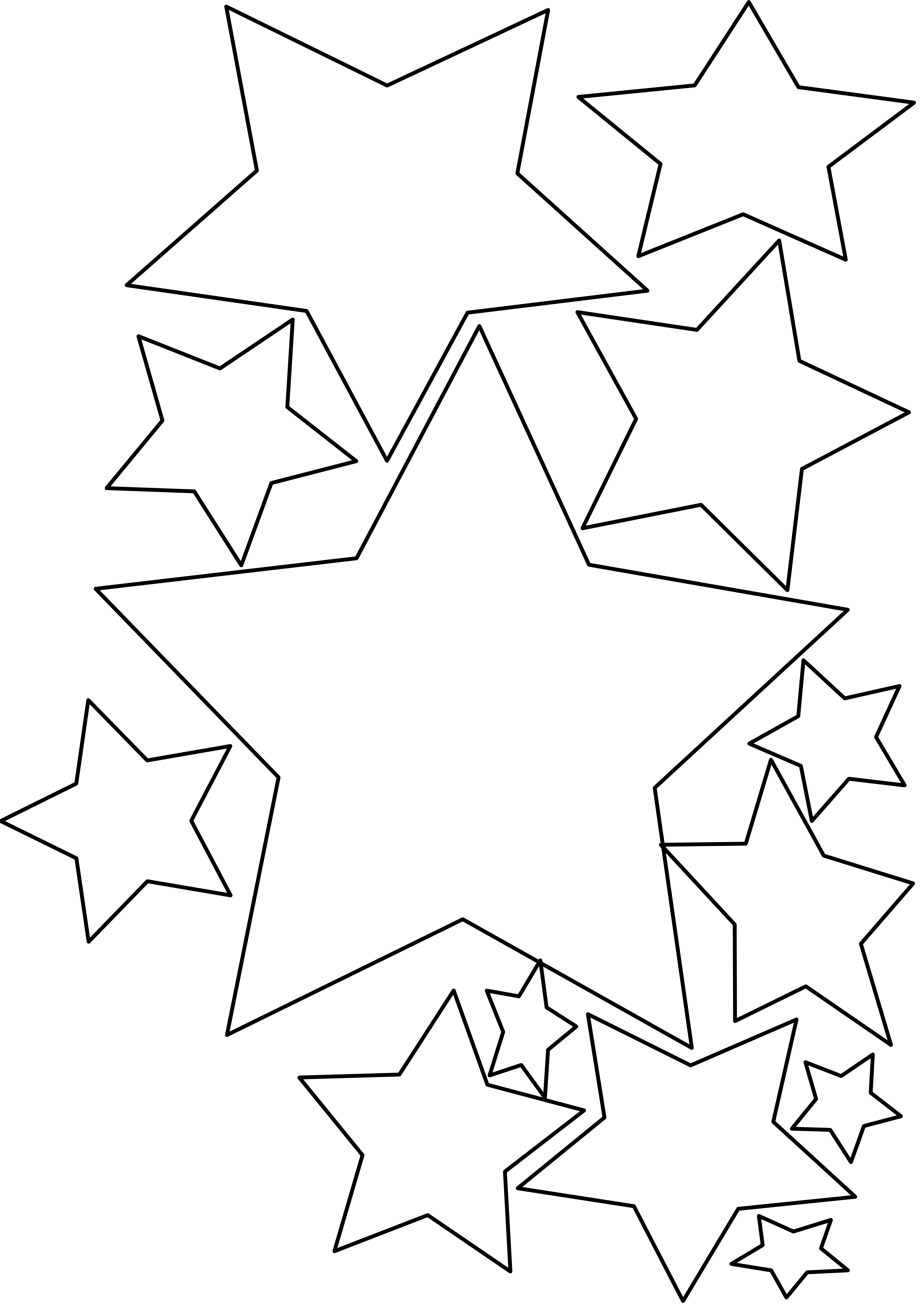 Star transparent background download. Free clipart stars row of 10 black & white