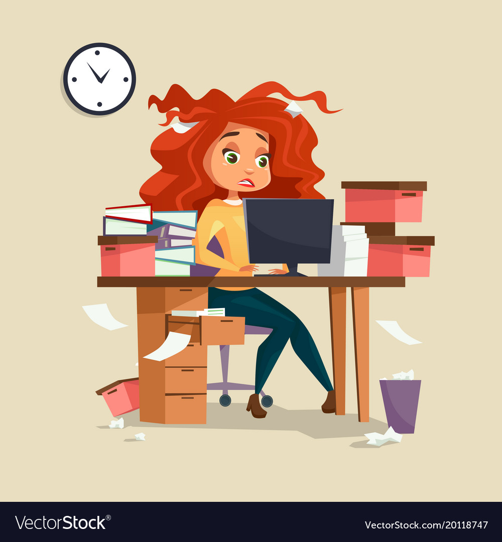 Free clipart stressed woman hair graphic Woman in office stress of graphic