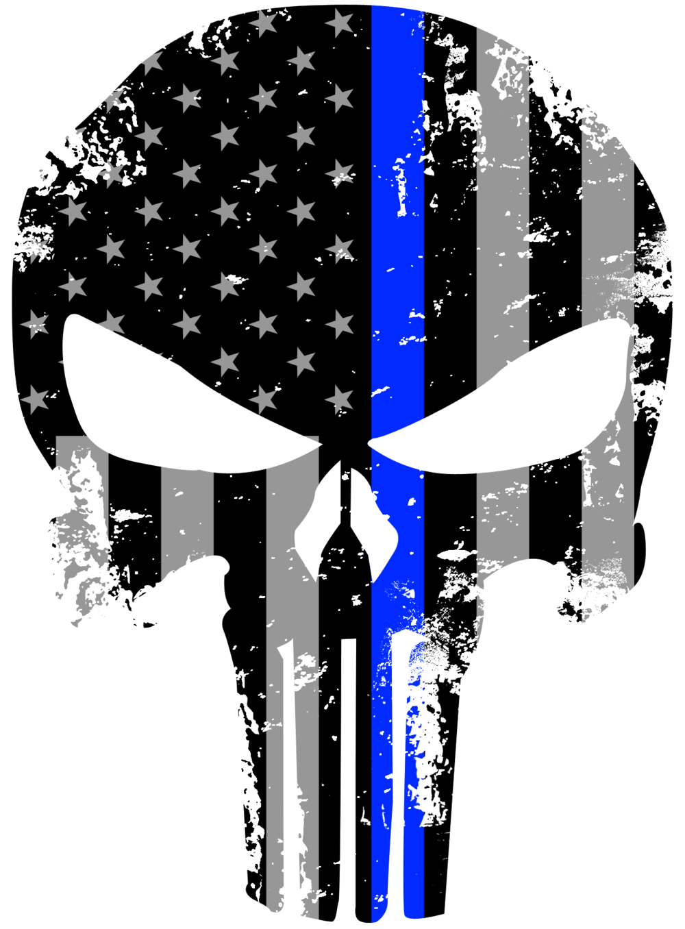 Thin blue line cross clipart image library download Tattered 5x4 Inch Subdued Us Flag Punisher Skull Reflective Decal ... image library download