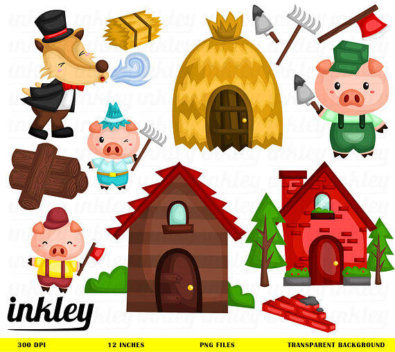 Three little pigs clipart free clipart royalty free library Download Free png Three Little Pigs Clipart, Th - DLPNG.com clipart royalty free library