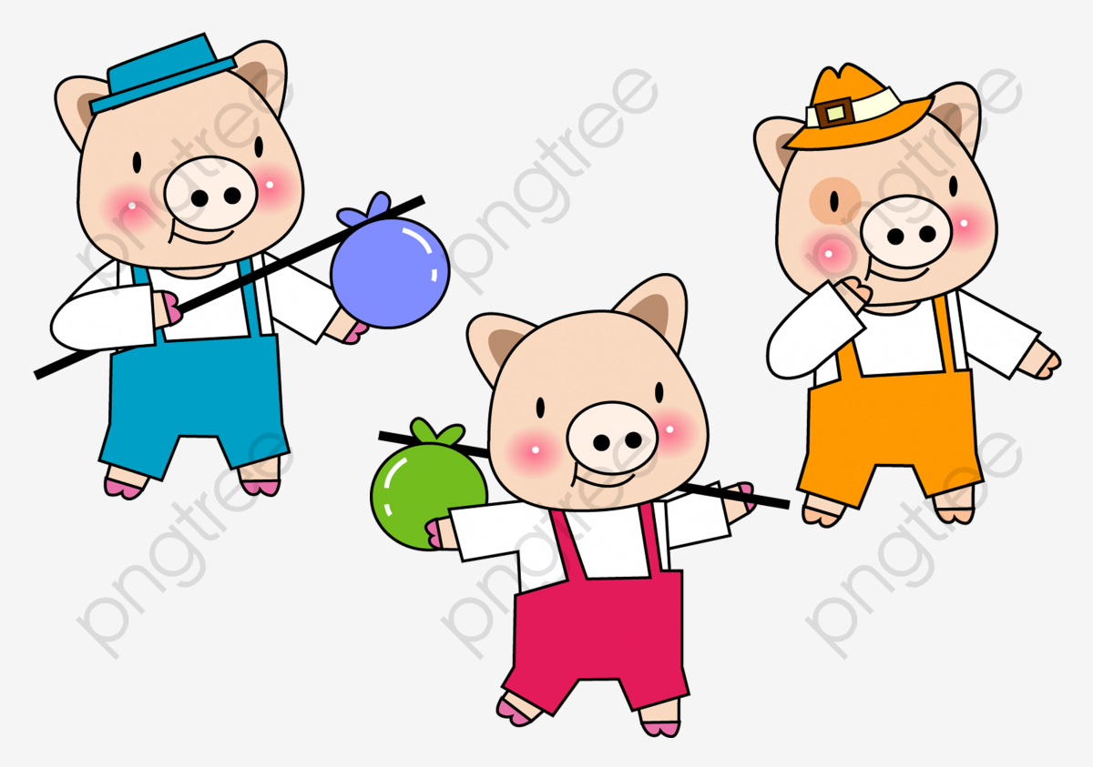 Cartoon pig sixty one. Free clipart three little pigs