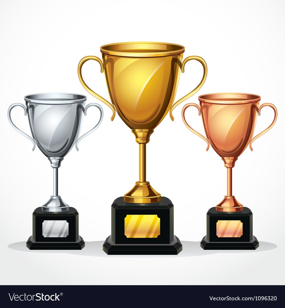 Set royalty vector image. Free clipart trophy cup