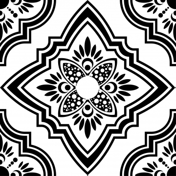 Moroccan ornament png vector. Free clipart turkish tile background black and white