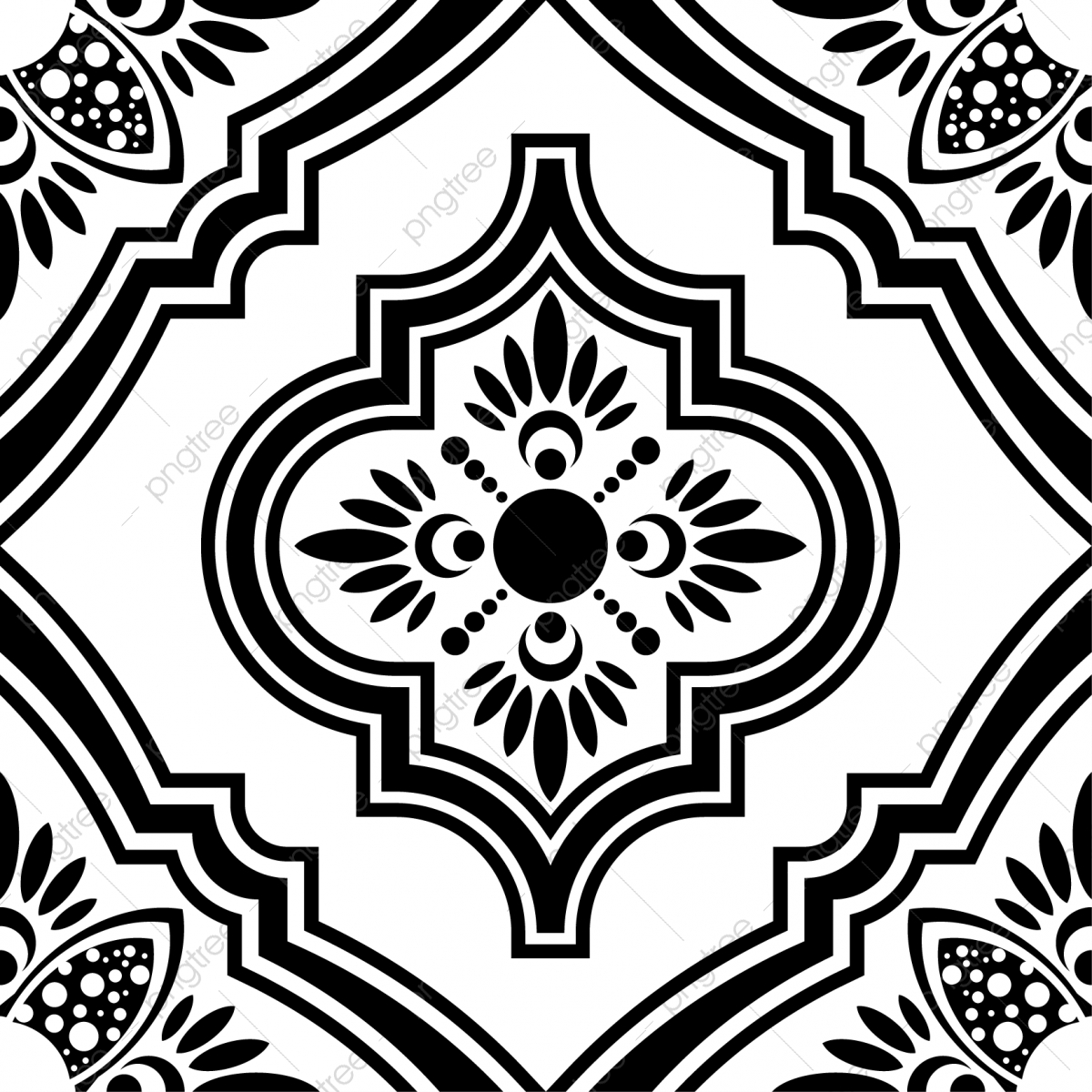Islamic seamless pattern design. Free clipart turkish tile background black and white