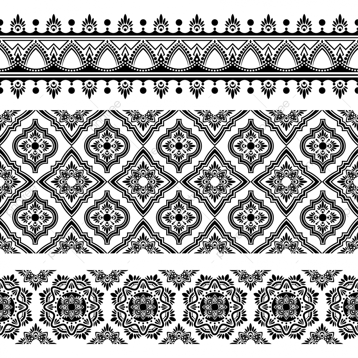 Free clipart turkish tile background black and white. Indian ethnic seamless pattern