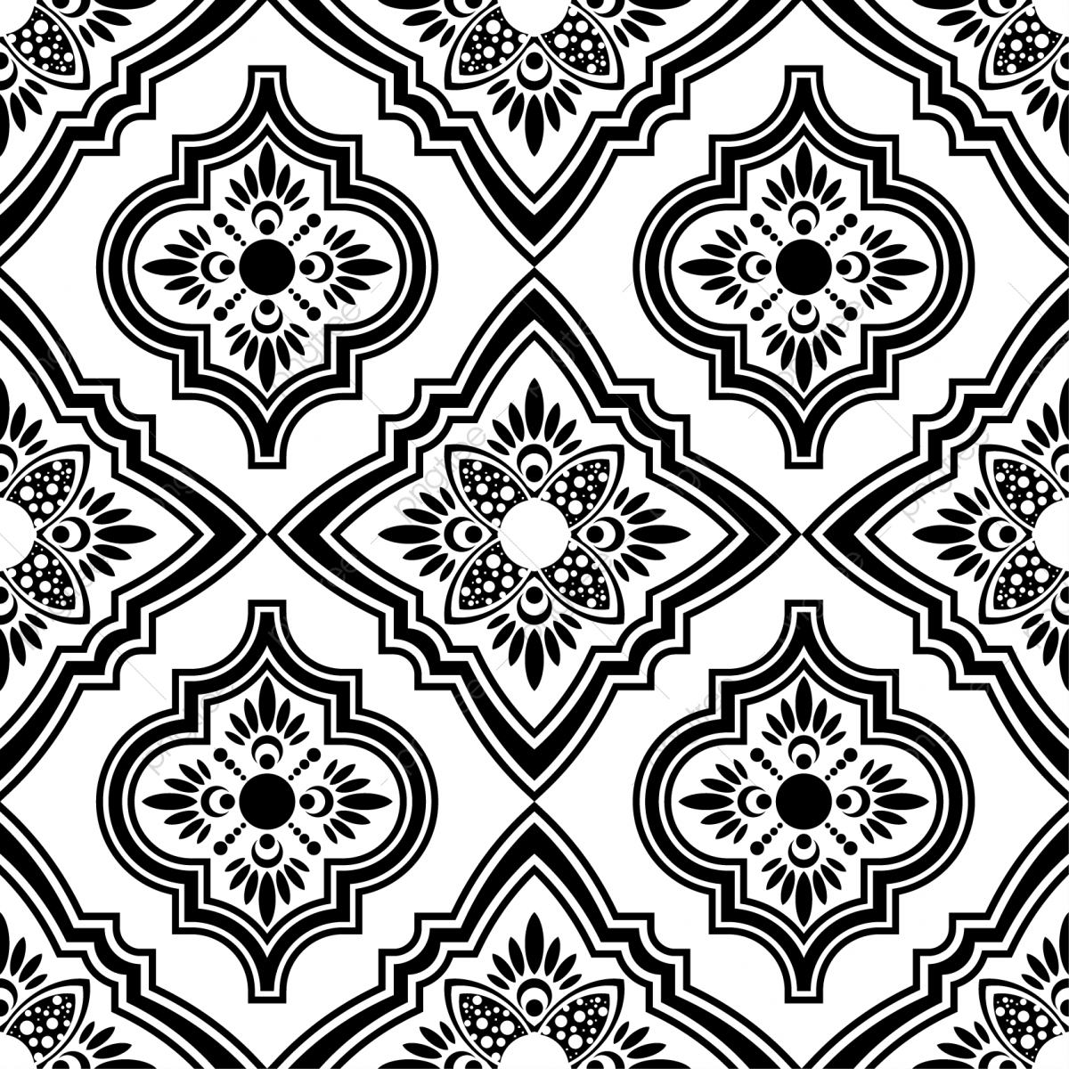 Persian ethnic seamless pattern. Free clipart turkish tile background black and white