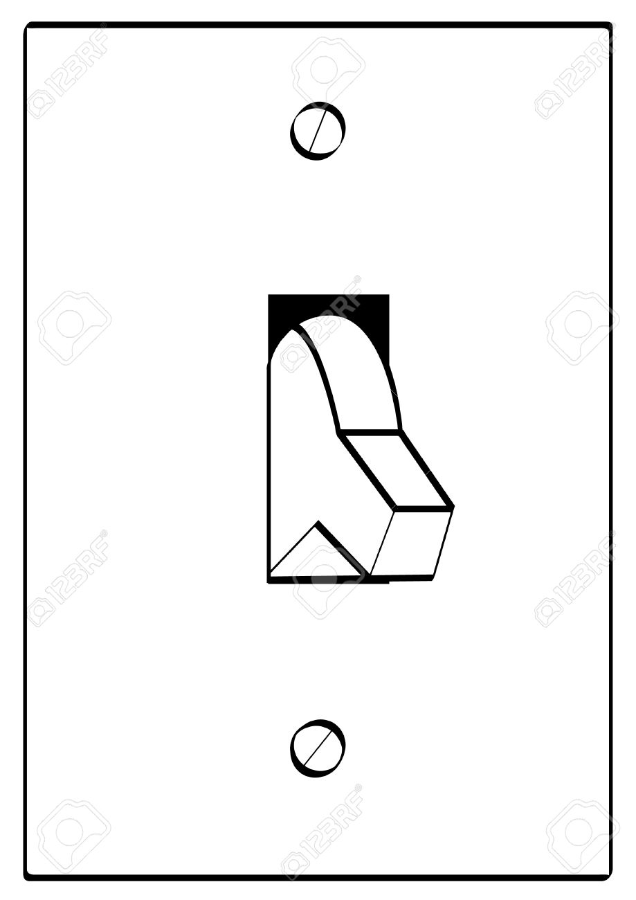 Free clipart turning off lights svg transparent library Outline Of Light Switch Turned To Off Position - Vector Royalty ... svg transparent library
