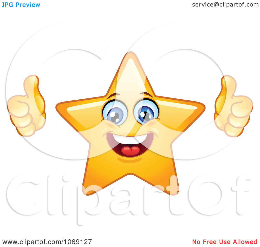 Free clipart two thumbs up black and white Clipart Happy Star Emoticon Holding Two Thumbs Up - Royalty Free ... black and white